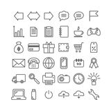 Collection of 36 universal linear icons. Thin icons for print, web, mobile apps design. Vector EPS 10 illustration for design Stock Image