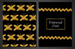 Collection of Universal Modern Stylish Cards Templates with Golden butterflies. Creative Wedding, Anniversary, Birthday, Valentine Royalty Free Stock Photography