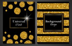 Collection of Universal Modern Stylish Cards Templates with Golden Geometrical Glitter Dots and lines.  Stock Photos