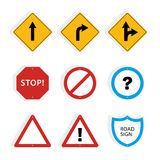 Collection of universal roadsigns. Royalty Free Stock Images