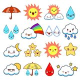 Collection of unusual cartoon and funny smiley weather icons. cute style. Sunny, cloudy, rainy, windy, shiny, bubbles. Umbrella. Flat design vector Stock Photos