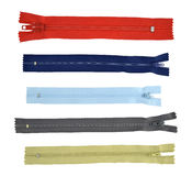 Collection, unzipped zippers Royalty Free Stock Photography