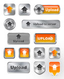Collection of Upload metallic and glossy buttons Royalty Free Stock Photo