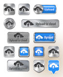 Collection of Upload to cloud metallic buttons stock illustration