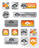 Collection of Upload to cloud metallic and glossy elements Royalty Free Stock Photo