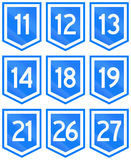 Collection of 9 Uruguayan numbered highway shields Royalty Free Stock Images