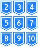Collection of 9 Uruguayan numbered highway shields Royalty Free Stock Image