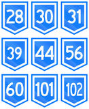 Collection of 9 Uruguayan numbered highway shields Stock Image