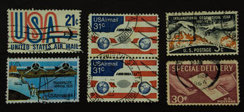 Collection of US air mail stamp Stock Photo