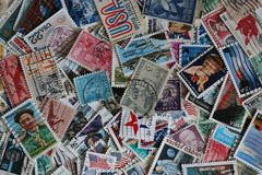 Assortment of United States Stamps. stock photo