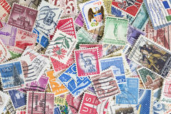 Collection of USA cancelled postage stamps Royalty Free Stock Image