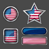Collection of USA flag icons Royalty Free Stock Images