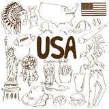 Collection of USA icons Stock Photography