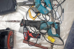 Collection of used power tools, DIY repair equipment. Stock Image