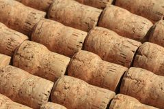 Collection of used wine and sparkling wine corks stock images