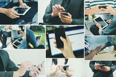 Collection of using tablet and smartphone on hands. Royalty Free Stock Images