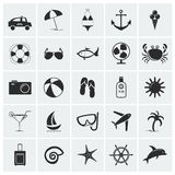 Collection of vacation and beach icons. Set of 25 vacation and beach icons. Vector illustration Royalty Free Stock Photo