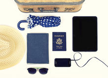 Collection of vacation travel items Royalty Free Stock Images