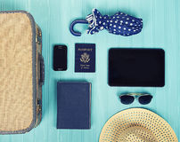 Collection of vacation travel items Stock Images