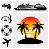 Vacation, Travel & Recreation. Island icons Royalty Free Stock Images