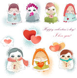 Collection valentine cats Stock Photos