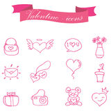 Collection of valentine element icons Royalty Free Stock Image