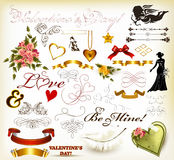 Collection of valentine's day  decorative elements for design in. Valentine  Collection of valentine's day  decorative elements for design in Stock Photography