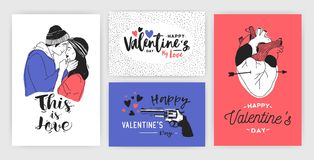 Collection of Valentine s day greeting card, party invitation or flyer templates with hand drawn kissing young couple. Anatomical heart and inscriptions Royalty Free Stock Images