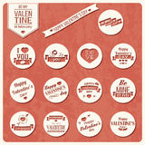 Collection of Valentines day vintage labels, typographic design Royalty Free Stock Photo
