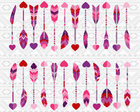 Collection of Valentine's Day or Wedding Themed Feather Arrows Stock Image