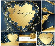 Collection of Valentine's greeting cards Stock Image