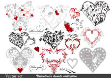 Collection of valentine's hearts for design Stock Photos
