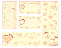 Collection of valentine tags with notes Royalty Free Stock Photos