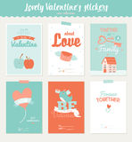 Collection of 6 Valentines day gift tags Royalty Free Stock Images