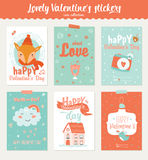 Collection of 6 Valentines day gift tags Royalty Free Stock Photo