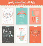 Collection of 6 Valentines day gift tags Stock Photo