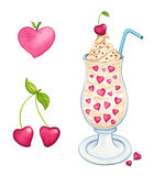 Collection of Valentines sweets and fruits elements. Hand painted watercolor clip art of sundae dessert, cherries and heart, isolated on white background Stock Image