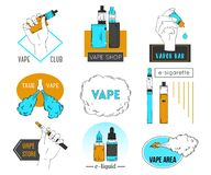 Collection of vape labels, emblems and badges. Electronic cigarette, liquid and cloud of steam. Vector illustration Royalty Free Stock Photos