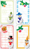 Collection of variable Christmas tags with snowmen Stock Image