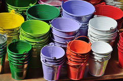 Collection of the varicolored metal buckets Royalty Free Stock Images