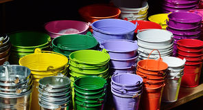 Collection of the varicolored metal buckets Stock Photography