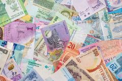 Collection of the variety  currency and banknotes Stock Image