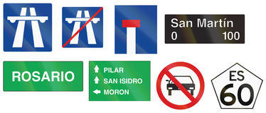 Collection of various Argentinian road signs stock illustration