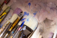 Collection of various artists brushes Stock Photography