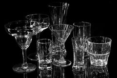Collection of various bar glasses Royalty Free Stock Images