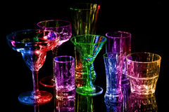 Collection of various bar glasses Stock Images