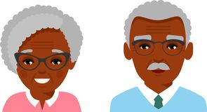 Collection of various black faces of age man, woman. stock illustration