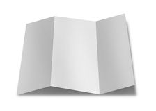 Collection of various blank folded leaflet white paper on white Stock Image