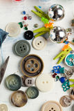 Collection of various buttons and pins Royalty Free Stock Image