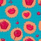 Collection of various  Candies from Candy Store. seamless pattern Stock Image